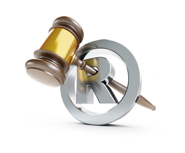 gavel registered trademark sign 3d Illustrations on a white background