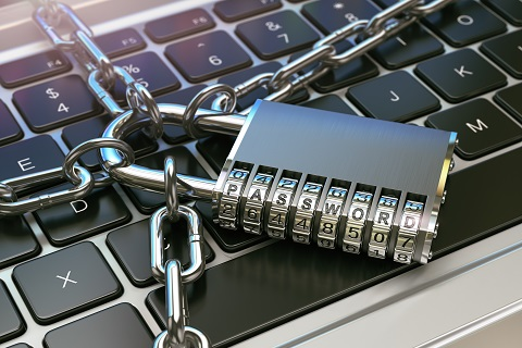Password. Computer security or safety concept. Laptop keyboard with lock and chain. 3d illustration